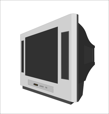 Vector television is set on white background