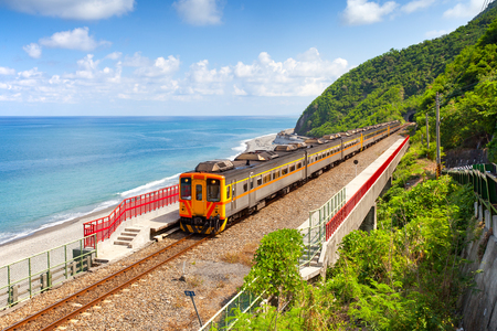 Photo for Train approaching the Duoliang Station in Taitung, Taiwan - Royalty Free Image