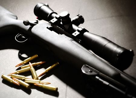 Sniper rifle with bullets