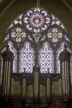 Sens (Yonne, Burgundy, France) - Interior of the Saint-Etienne cathedral, in gothic style, stained glass and organ