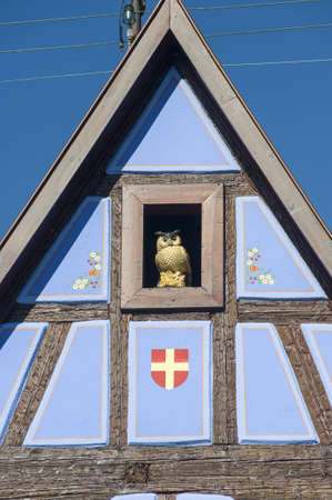 Andlau (Bas-Rhin, Alsace, France) - Exterior of ancient half-timbered blue house, detail