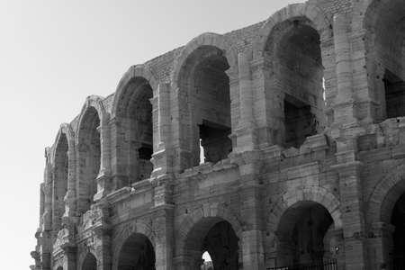 Arles (Bouches-du-Rhone, Provence-Alpes-Cote-d'Azur): Les Arenes, Roman theatre. Black and white
