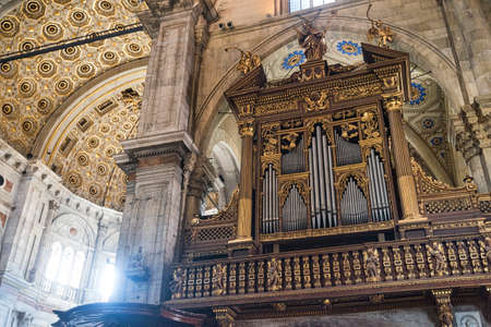 Como (Lombardy, Italy): interior of the medieval cathedral, built from 1396 to 1770. The organ