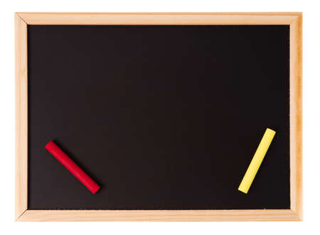 Blank blackboard with chalk color isolated on white background