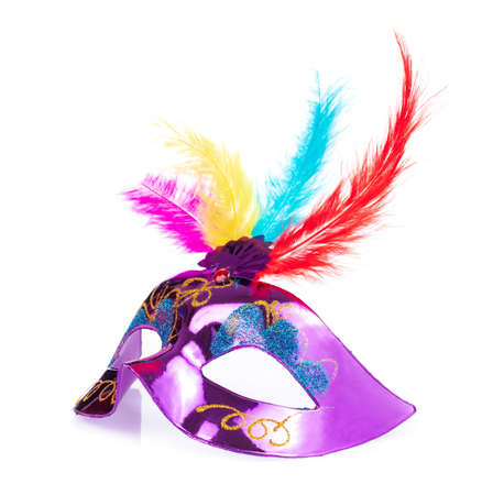 Photo pour carnival mask with feathers isolated on a white background - image libre de droit