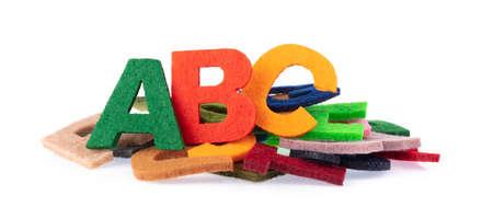 Set Alphabet is made of felt isolated on white background.