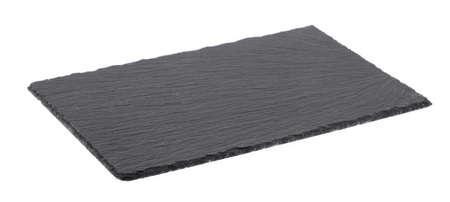 Photo pour black stone empty rectangular, square dish isolated on white background. - image libre de droit