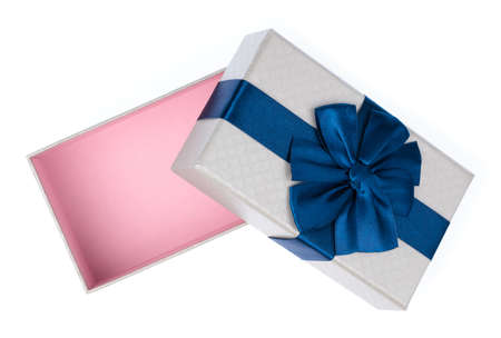 Photo for Gift color silver box with blue ribbon and bow isolated on white background - Royalty Free Image