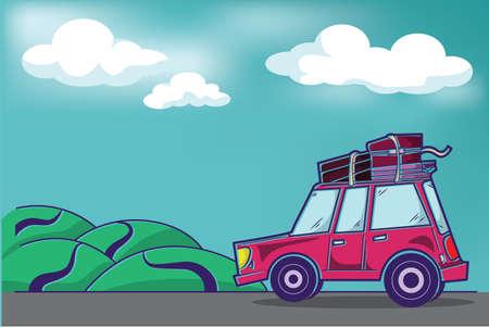 Pink Traveling Car