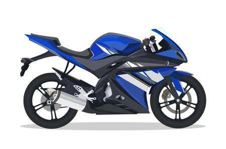 Ilustración de Detailed flat black blue motorbike or motorcycle cartoon with shadow. - Imagen libre de derechos