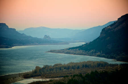 The Columbia Gorge near Portland at dusk from an elevation