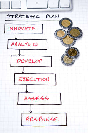 Photo pour Business strategy organizational charts and graphs - image libre de droit