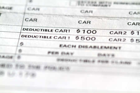 Invoice disclosure form showing liability and deductible for cars