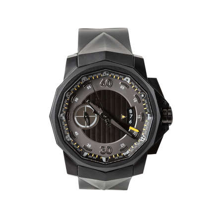 Photo pour Black luxury titanium chronometer watch with black Physical vapor deposition and with rubber strap, front view isolated on white background - image libre de droit