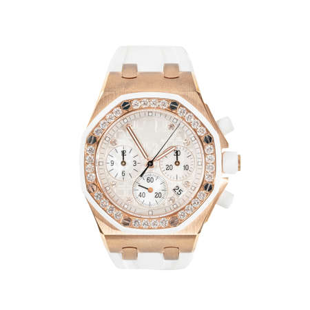 Photo pour Rose gold chronograph watch with rubber strap, front view on a white background - image libre de droit