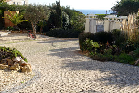 Photo for Stone block paved driveway of home - Royalty Free Image