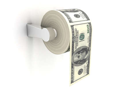 Roll of toilet paper with 100 dollar bills