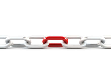 Metal chain link, 1 red link