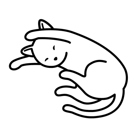Illustration pour Cat Vector kitten neko sleep doodle icon illustration cartoon character - image libre de droit