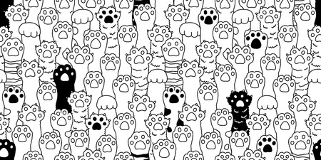 Cat paw seamless pattern cat breed isolated kitten dog paw hand vector wallpaper background doodle illustration cute