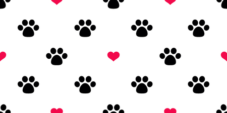 Illustration pour Dog Paw Seamless pattern vector heart valentine isolated Cat Paw red puppy kitten icon foot print wallpaper tile background illustration - image libre de droit