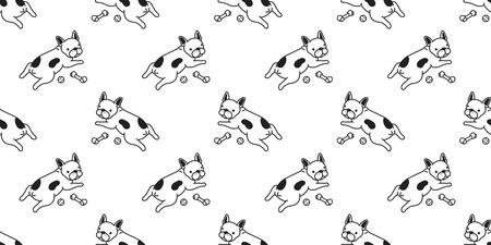 Dog Seamless pattern vector french bulldog pug dog bone paw bone isolated repeat background wallpaper white cute