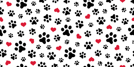 Illustration pour Dog Paw Seamless pattern vector heart isolated scarf valentine wallpaper repeat background - image libre de droit