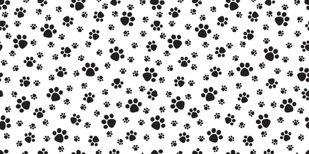 Dog Paw Seamless Pattern vector Cat Paw puppy footprint repeat wallpaper tile background