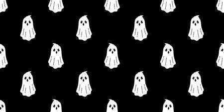 Illustration pour Ghost seamless pattern vector Halloween spooky scarf isolated repeat wallpaper tile background devil evil cartoon illustration gift wrap paper doodle design - image libre de droit