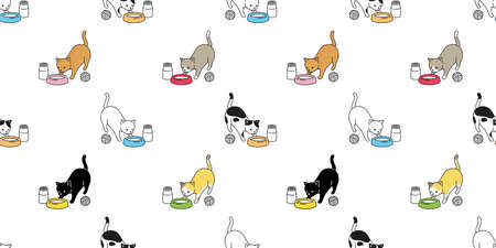 Illustration for cat seamless pattern food bowl kitten calico vector pet milk scarf isolated repeat background cartoon animal tile wallpaper doodle illustration design - Royalty Free Image