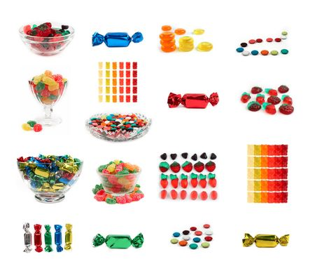 Set of 17 isolated colorful candys and jelly sweets