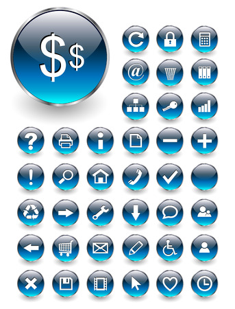 Web icons for business and office blue aqua
