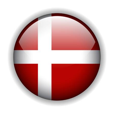 National flag of Denmark - Danish flag. glossy button