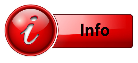 Illustration for information, info icon button, red glossy. - Royalty Free Image