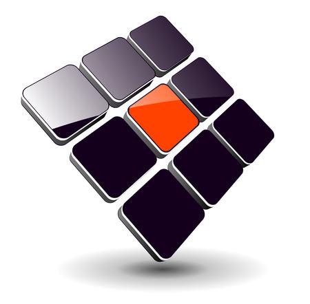 Illustration pour Logo - 3d glossy cubes, dynamic logo for your business. - image libre de droit