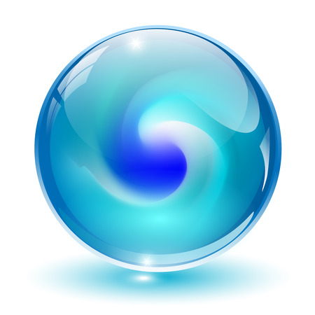 3D crystal, glass sphere with abstract shape inside, illustration.