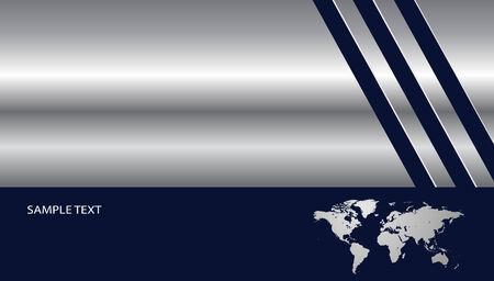 Stylish business background silver metallic with world map