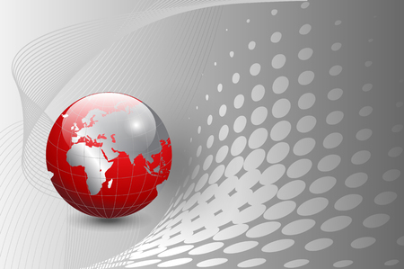 business background, silver with red world globe
