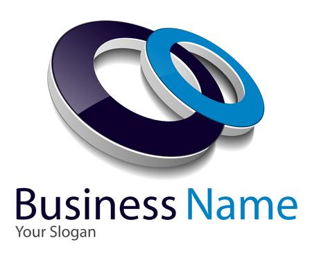 Illustration pour Logo 3d abstract dynamic shape,  black and blue - image libre de droit