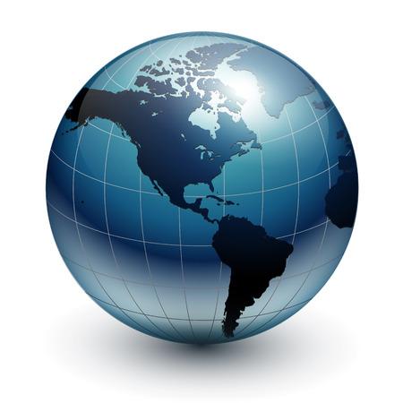Earth globe, world glossy