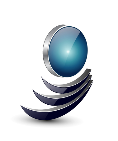 Illustration pour Logo abstract dynamic shape, black and blue . - image libre de droit