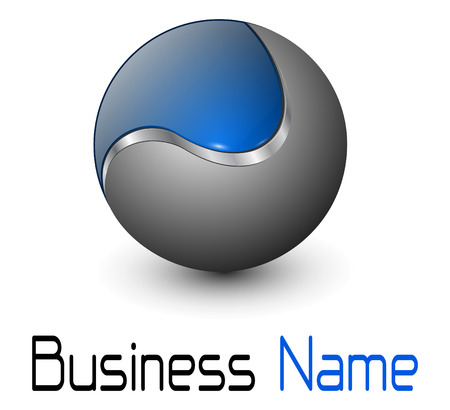 Illustration pour Logo glossy metallic sphere with blue element - image libre de droit