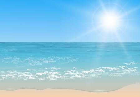 Beach and tropical sea with sun,