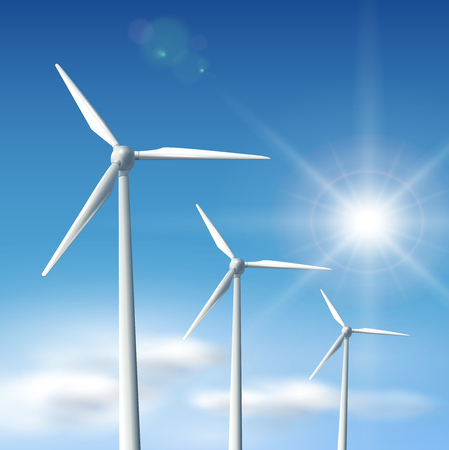 Wind turbines over blue sky with sun,   illustration.