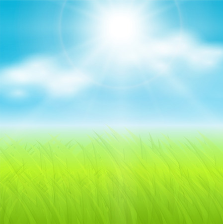 Illustration pour   background, sunny spring sky and green meadow. - image libre de droit