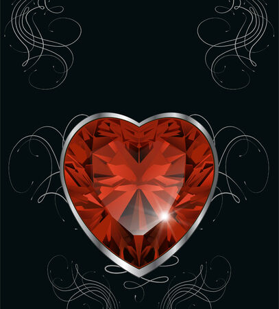 Romantic background black with ruby heart, vector.