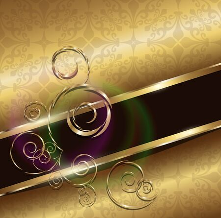 Abstract background gold with floral ornaments
