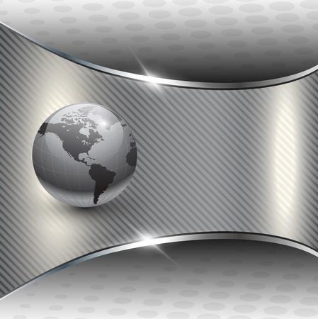 Business background grey metallic with earth globe
