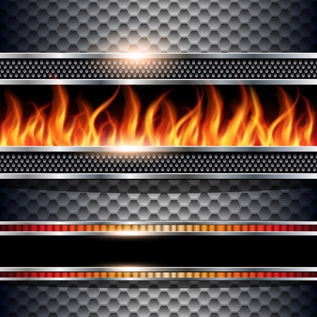 Abstract background, metallic with realistic fire flames, vector.
