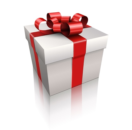 Vector gift box with red ribbon and bow.